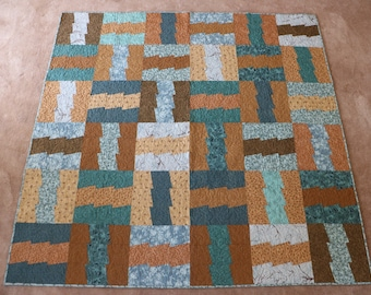 Zigzag Teal and Brown Quilt