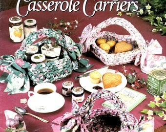 Fabric Baskets and Casserole Carriers 8 Crocheted Round Square Oblong Heart Shaped Carriers Handles Craft Pattern Leaflet Leisure Arts 2218