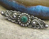 Vintage Native American Navajo Sterling Silver Turquoise Brooch