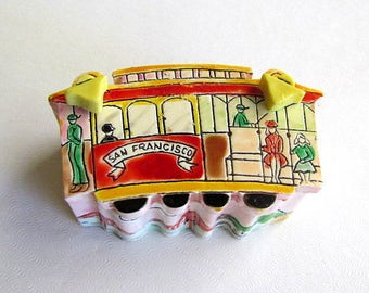 Vintage 1981 san Francisco Trinket Box with Necklace Brooch & Earrings by Meow