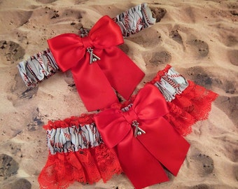 Baseball Softball Red Satin Red Lace Ready to ship Baseball Bat Charm Wedding Garter Toss Set