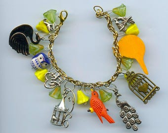 Bird Theme Charm Bracelet Handmade Recycled Items and Flower Beads