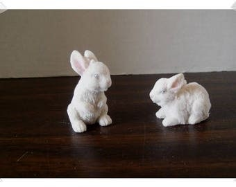 Mini Resin/Flocking White Easter Bunnies/ Set of 2/ Minis/Craft Supplies*