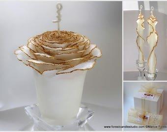 White & Gold Unity Wedding Candle Set, Beeswax Unity Candle Set, Fairytale Wedding, Gold Glitter Candles, Rose Candles, Glam Wedding Decor