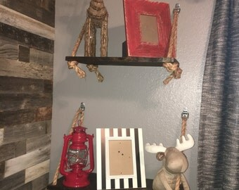 Rustic Wooden Display Shelf with Rope Detail Size SMALL and LARGE