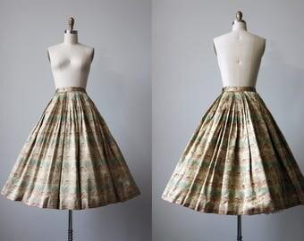 50s Skirt - Vintage 1950s Skirt - Designer Jacquard Novelty Pagodas Cherry Trees Full Skirt S - Gilded Cage Skirt