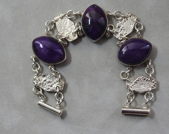 Magnificent Sugilite and Silver Bracelet - Reduced in Price