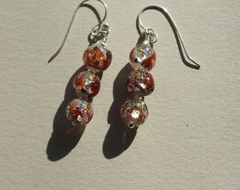 Vintage Venetian Foil Glass Bead earrings