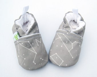 Classic Vegan Constellation in Grey / All Fabric Soft Sole Baby Shoes / Ready To Ship / Babies Gray