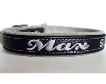 Adjustable Personalized Leather dog collar with suede lining-Embroidered name-Genuine leather -one inch width designer dog collar