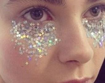 Festival Glitter- Makeup - Chunky   Glitter Stars - Hexagons, Diamonds Cosmetic Glitter   Dance - Rave - Eyes, Lips, Face, Nails   Rainbow
