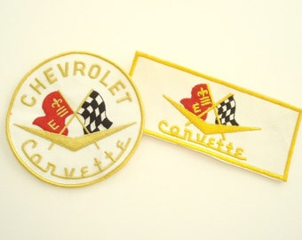 2 Chevy Corvette embroidered patches, 1970s fabric patch, 1950s Corvette emblem, muscle car memorabilia, mid-century racing flags