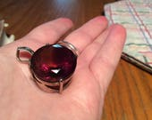 Ametine pendant,huge Brilliant huge 1 inch diameter ametrine gemstone pendant  set in Sterling silver Bicolor Ametrine approx 26x 24 mm