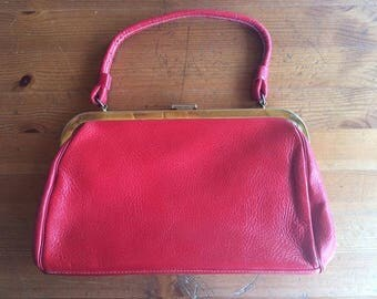 Vintage 40s 50s Classic Red Leather Handbag Purse