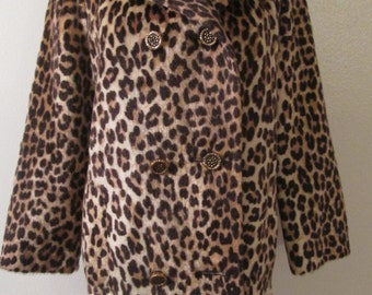 Vintage Somali Fashioned by Fairmoor Leopard Print Faux Fur Double Breasted Jacket Sz M
