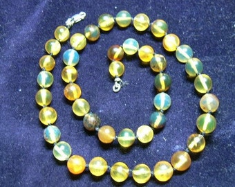 Dominican Blue Amber and Sterling Silver Choker Necklace
