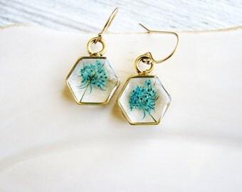 Teal Flower Hexagon Earrings, Geometric Earrings, Boho Earrings, Minimalist Earrings, Real Flower Earrings, Naturalist Gift