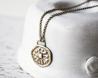 Silver Coin Necklace / Sterling Silver Necklace / Silver Coin Pendant / Sterling Silver Coin Charm / Coin Pendant / Bridal Necklace
