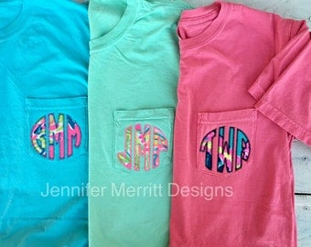 Monogrammed Lilly Pulitzer Appliqué Short Sleeve Comfort Colors Pocket T-shirt, Monogram Shirt