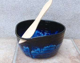Serving bowl pate dip dish hand thrown stoneware with a swedish butter knife ceramic pottery handmade wheelthrown