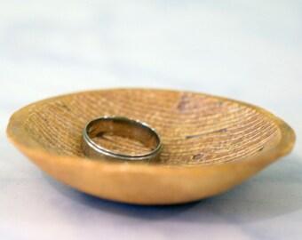 Faux Wood Ring Bowl // Ceramic Trinket Bowl // Perfect Rustic Wedding Decor Item // Ring Bearer