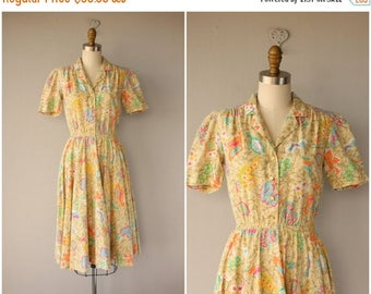 25% OFF FLASH SALE.. Vintage 80s does 50s Dress | 1980s does 1950s Dress | Vintage 1970s Day Dress | 70s Dress | 1970s Cotton Sundress
