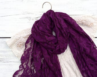 Lace Scarf, Plum Purple Lace Scarf, Long Scarf, Soft Lace Scarf, Dark Purple Scarf, Floral Scarf, Wrap, Shawl, Gift Idea for Her