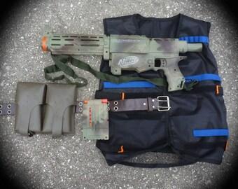 Steampunk  gun Vest Belt  Ammo pouch  Shoulder strap Nerf Recon toy Soft Dart Zombie man Victorian diesel punk camouflage