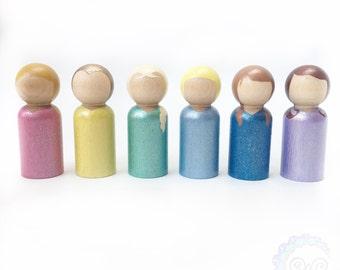 princess peg dolls - glitter + shimmer princesses stocking stuffers