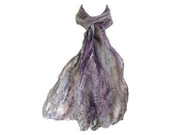 Cobweb Purple Felted Scarf Wool Scarf Long Scarf Womens Scarf Winter Accessory Lightweight Scarf in Purple Brown Gray OOAK Gifs for Her