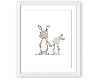Bunny Nursery Art -- Take My Hand Little Bunny -- Woodland Nursery -- Nursery Art Print -- Children Art Print -- Kids Wall Art