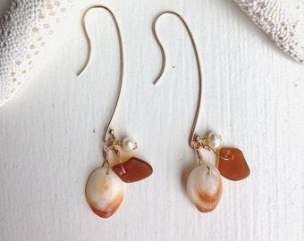 GENUINE Hawaiian Sea Glass Shell Freshwater Pearl 14k Gold Filled Earrings. Made in Hawaii. Perfect Gift Birthday BFF Wedding Souvenir Beach