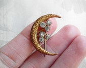 Antique Old Vintage Victorian Honeymoon Crescent Moon Pin