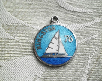 Vintage BMCo Sterling & Enamel Kingston Ontario 1976 Sailing at the Olympics Charm