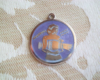 Vintage Griffith Sterling Silver & Enamel Astrology Zodiac Aquarius Charm