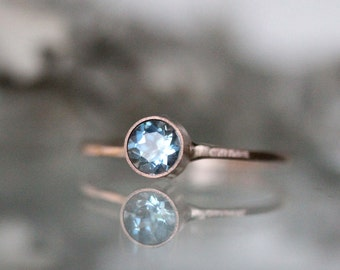 Genuine Aquamarine 14K Gold Ring, Gemstone RIng, Stacking RIng, Engagement Ring - Made To Order