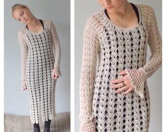 ON SALE 70s Crochet Dress, Crochet Wedding Dress, Crochet Midi Dress, Champagne, Full Length Crochet Dress Fit & Flare Dress Vintage Crochet