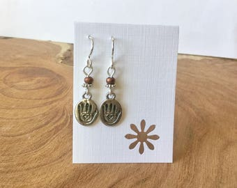 I was here! Hand print pewter earrings