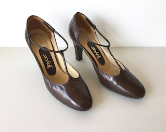 50's Brown Leather Heels - Chocolate Brown Leather T-Strap High Heel Shoes Size 6 - Joyce All Brown Leather Slip On 60's d'Orsay Heels