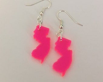 New Jersey Earrings - Fluorescent Neon Pink