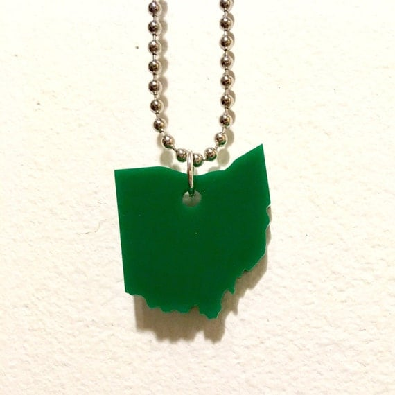 Ohio Necklace - State Necklace - State Jewelry - Small Pendant on Ball Chain - Green Lasercut Acrylic - Ohio Jewelry - US State Necklace