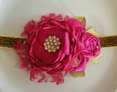 Fuschia hot pink and gold headband
