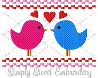 Faux Smocking Love Birds Machine Embroidery Design