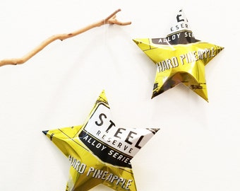 Steel Reserve Alloy Series Hard Pineapple Stars Christmas Ornaments Aluminum Can Upcycled