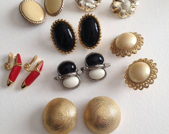 Clip Earring Lot Monet Faux Pearl Red Black White 7 Pair
