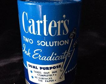 Vintage Tin - Carters Two Solution Ink Eradicator complete with original bottles