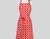 Chef Apron - Adjustable Neck Christmas Holiday Red and White Modern Quatrefoil Cute Womens Long Chef Apron also in Plus Size