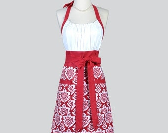 SALE Cute Kitsch - Modern Chef Apron in Burgundy Red and White Damask Womens Christmas Holiday Retro Kitchen Cooking Apron Gifts for Her