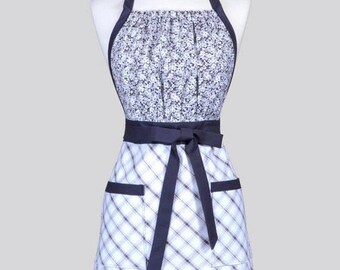 SALE Cute Kitsch Womens Apron - Elegant Gray and White Plaid and Floral Retro Full Coverage Vintage Style Kitchen Apron with Pockets