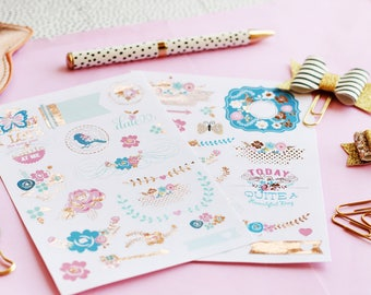 2pk Planner stickers Sweet Routine with gold foil